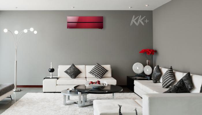 Кондиціонер Mitsubishi Electric Premium Inverter Zubadan MSZ-LN червоний, рубіново-червоний - ціна в Києві, купити в Києві, монтаж кондиціонера, картинка в інтер'єрі